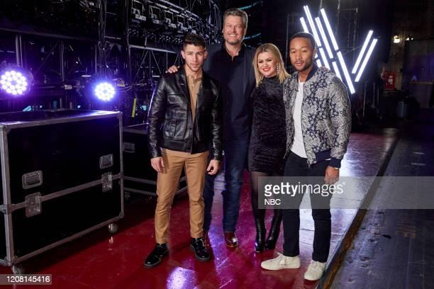 "Battle Rounds"" Episode 1806 -- Pictured: Nick Jonas, Blake Shelton, Kelly Clarkson, John Legend --"