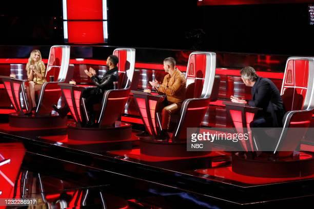 "Battle Rounds"" Episode 2009 -- Pictured: Kelsea Ballerini, John Legend, Nick Jonas, Blake Shelton --"