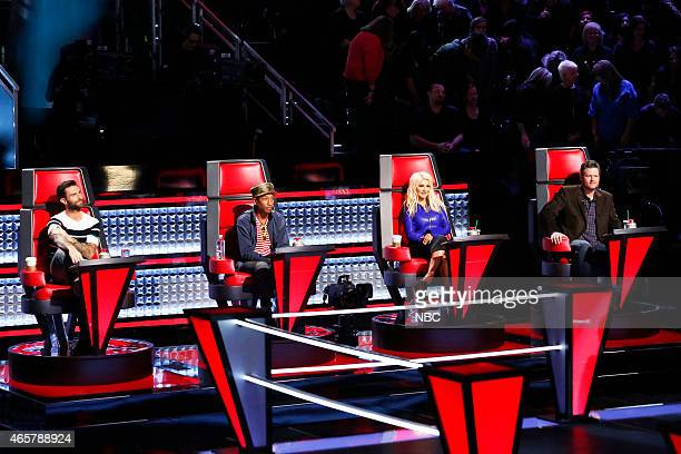THE VOICE Battle Rounds Episode 805 Pictured Adam Levine Pharrell Williams Christina Aguilera Blake Shelton