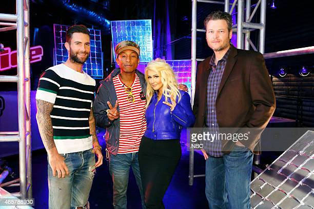 THE VOICE 'Battle Rounds' Episode 805 Pictured Adam Levine Pharrell Williams Christina Aguilera Blake Shelton