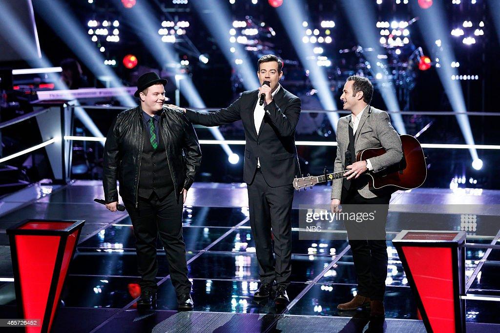 THE VOICE -- 'Battle Rounds' Episode 805 -- Pictured: (l-r) Brian Johnson, Carson Daly, Joshua Davis --