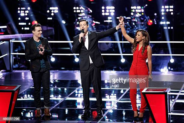 THE VOICE 'Battle Rounds' Episode 807 Pictured Clinton Washington Carson Daly India Carney
