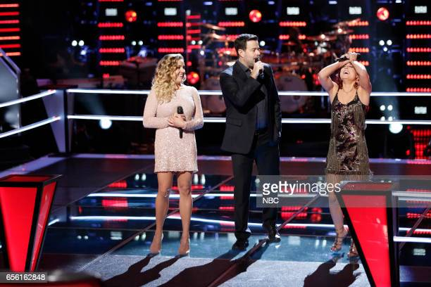 THE VOICE 'Battle Rounds' Pictured Ashley Levin Carson Daly Casi Joy
