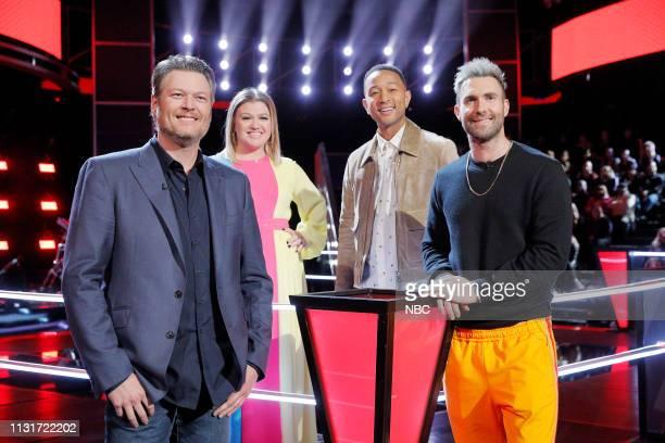 THE VOICE Battle Rounds Pictured Blake Shelton Kelly Clarkson John Legend Adam Levine