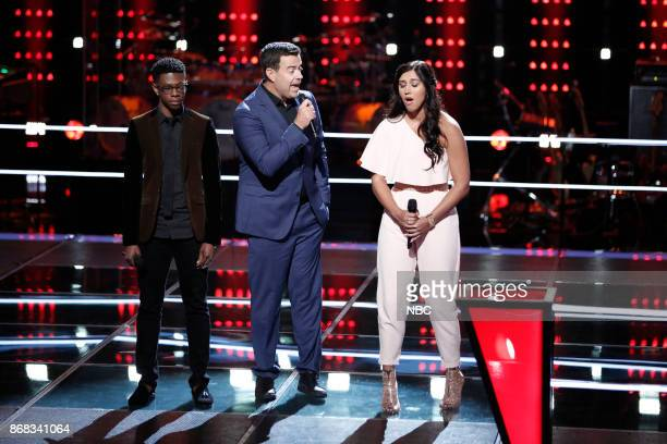 "Battle Rounds"" -- Pictured: Brandon Showell, Carson Daly, Hannah Mrozak --"
