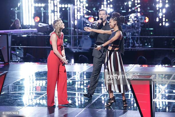 THE VOICE Battle Rounds Pictured Hannah Huston Carson Daly Maya Smith