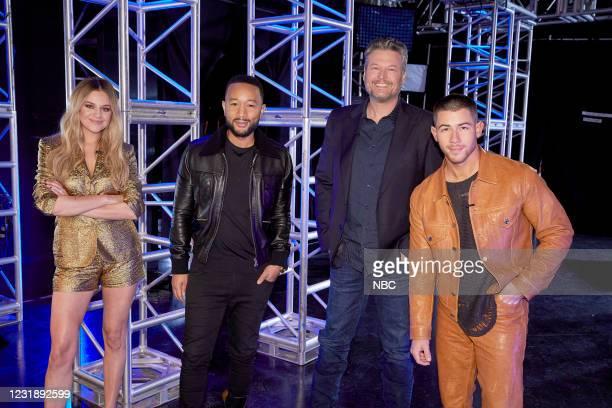 """Battle Rounds"""" -- Pictured: Kelsea Ballerini, John Legend, Blake Shelton, Nick Jonas --"""