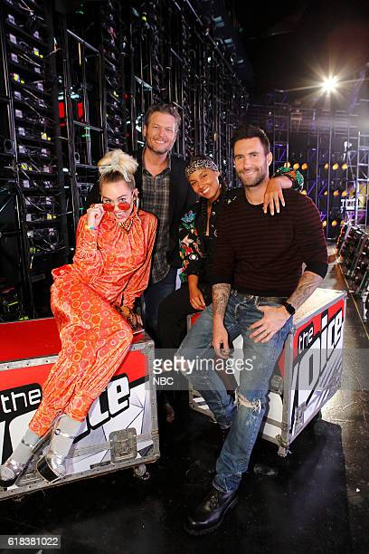 THE VOICE Battle Rounds Pictured Miley Cyrus Blake Shelton Alicia Keys Adam Levine