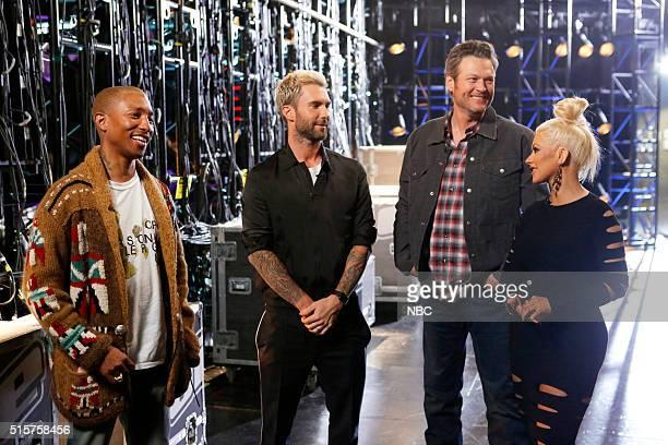 THE VOICE Battle Rounds Pictured Pharrell Williams Adam Levine Blake Shelton Christina Aguilera