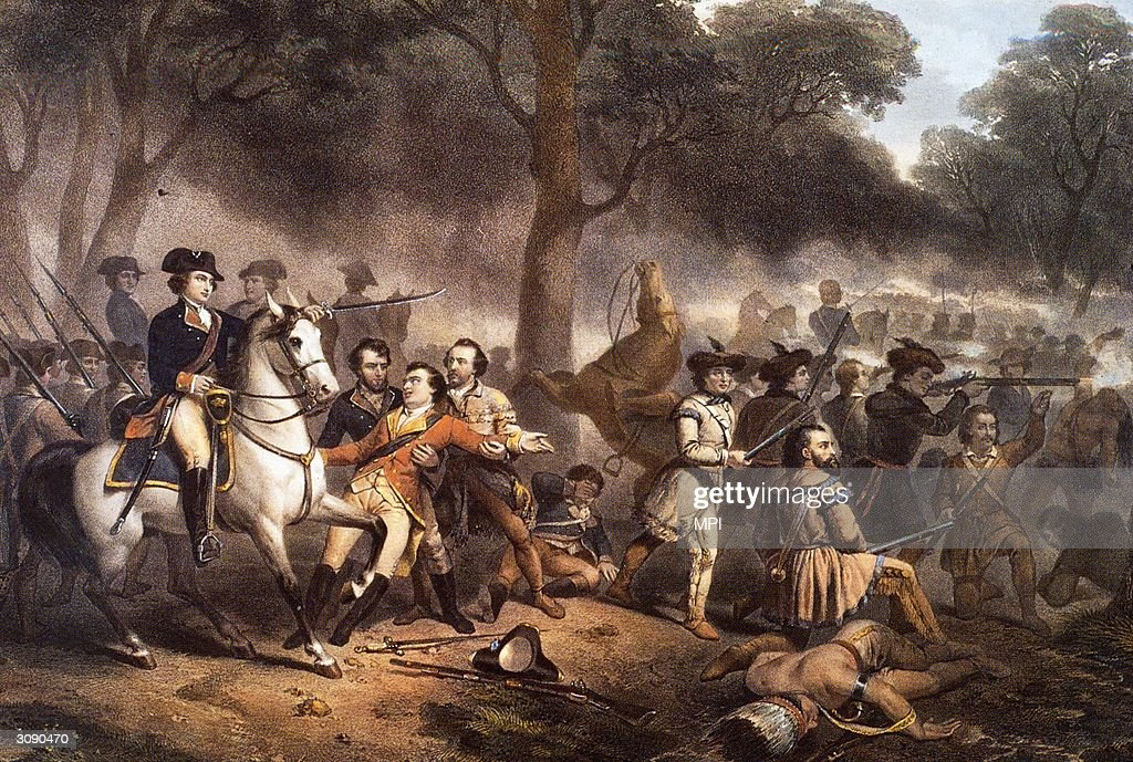 A battle scene from the French and Indian War (1754 - 1763), a conflict between the British and the French, aided by their respective colonial and Native American allies, for the domination of America.