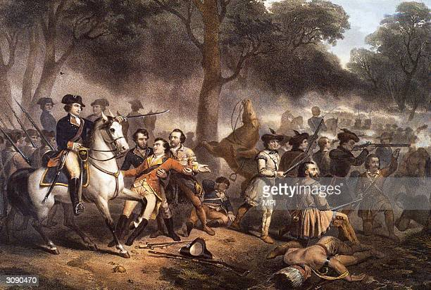 A battle scene from the French and Indian War a conflict between the British and the French aided by their respective colonial and Native American...