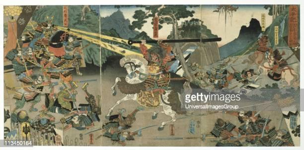 Battle scene from the series The Fortyseven Faithful Samurai Coloured woodblock print late 1840's Utagawa Yoshitora Japanese artist and printmaker