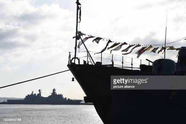 Battle ships lie at the navy harbour in Kiel Germany 16 June 2017 More than 40 navy ships from 13 nations will lie at anchor here during the Kieler...