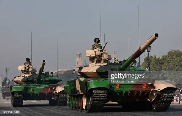 T90 battle tanks at Rajpath during the rehearsal of Republic Day Parade on January 20 2017 in New Delhi India Republic Day rehearsals are in full...