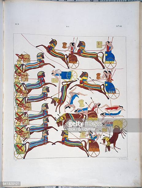 Battle with chariots from the Temple of Abu Simbel Plate CIII from Monuments of Egypt and Nubia Historical monuments 18321844 by Ippolito Rosellini