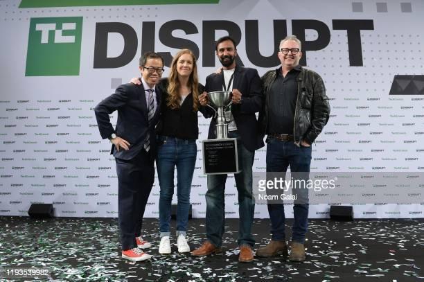 Battlefield Winner CTO of ScaledRobotics Bharath Sankaran PhD poses with Anthony Ha EditorAtLarge for TechCrunch Mike Butcher and Managing Editor of...