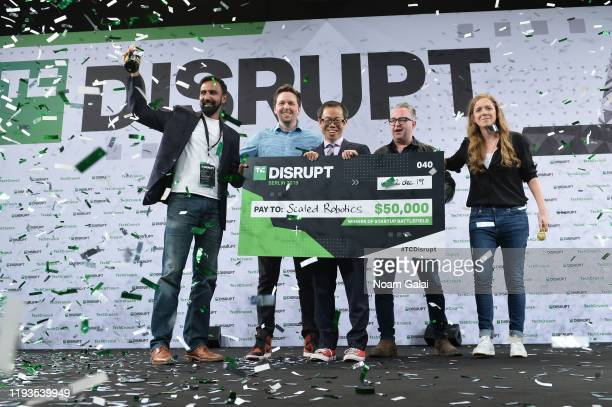 Battlefield Winners CTO of ScaledRobotics Bharath Sankaran PhD and CEO of ScaledRobotics Stuart Maggs pose with Anthony Ha EditorAtLarge for...