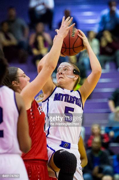 Battlefield's Marley McLaughlin drives the lane for 2 points against Patriot during the third quarter in the Virginia 6A north region girls'...