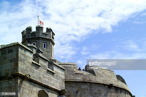 Battlements of Pendennis Castle Falmouth Cornwall 2006 Pendennis Castle was begun in 1540 as part of Henry VIII's defence of the south coast The...