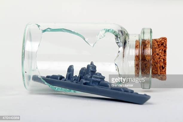 battleship escape - ship in a bottle stock pictures, royalty-free photos & images