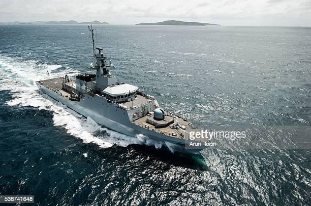 Battleship in Pacific Ocean
