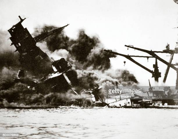 Battleship USS 'Arizona' sinking during the attack on Pearl Harbour 1941 The Japanese Navy launched a surprise attack on the US military facilities...