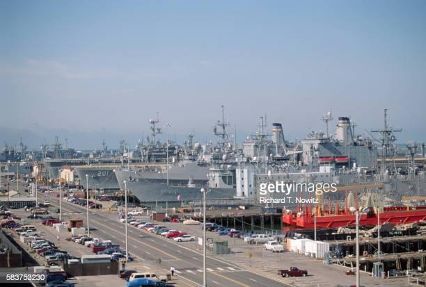 battleships at naval base - naval base stock pictures, royalty-free photos & images