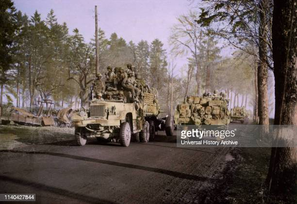 BattleWeary Troops Being Relieved of FrontLine Duty as Reinforcements Arrive to Take Over ArdennesAlsace Campaign Battle of the Bulge 1945