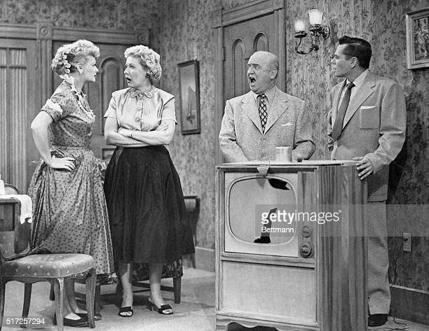 Battling foursome consists of Lucille Ball Vivian Vance William Frawley and Desi Arnaz In this sequence 'Ricky' shortcircuits the television set he...