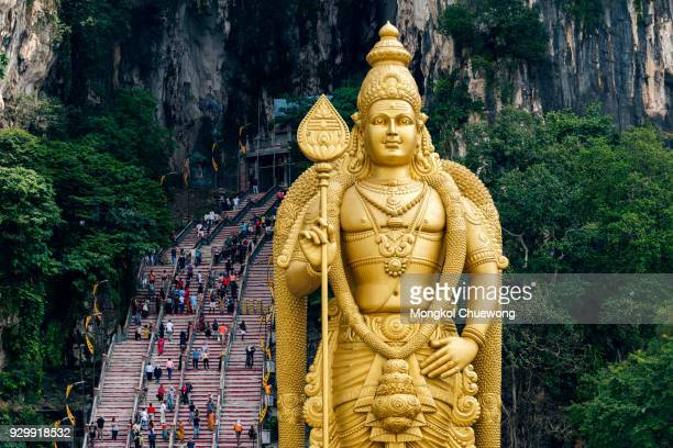 Batu Caves Lord Murugan Statue and entrance at Hindu Temple near Kuala lumpur Malaysia