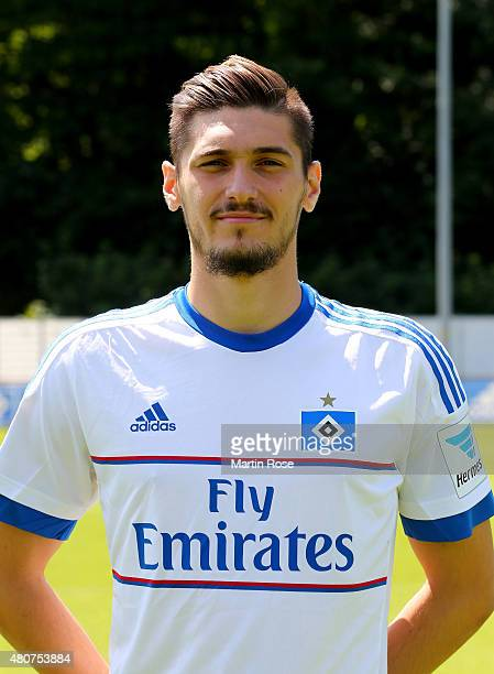 Batuhan Altintas of Hamburger SV poses during the team presentation of Hamburger SV at Volksparkstadion on July 15 2015 in Hamburg Germany