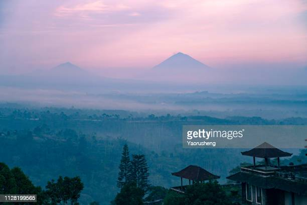 Batur volcano and Agung mountain panoramic view at sunrise , Bali, Indonesia