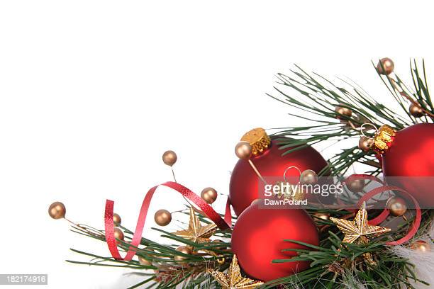 bauble border - christmas garland stock pictures, royalty-free photos & images