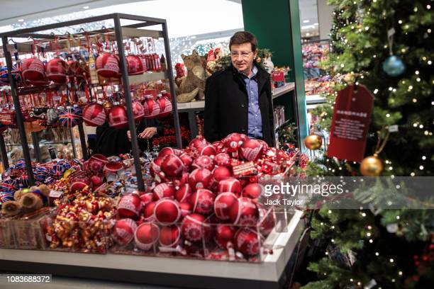 Baubles for sale in a Christmas shop in the John Lewis department store on Oxford Street on December 17, 2018 in London, England. Fewer shoppers are...