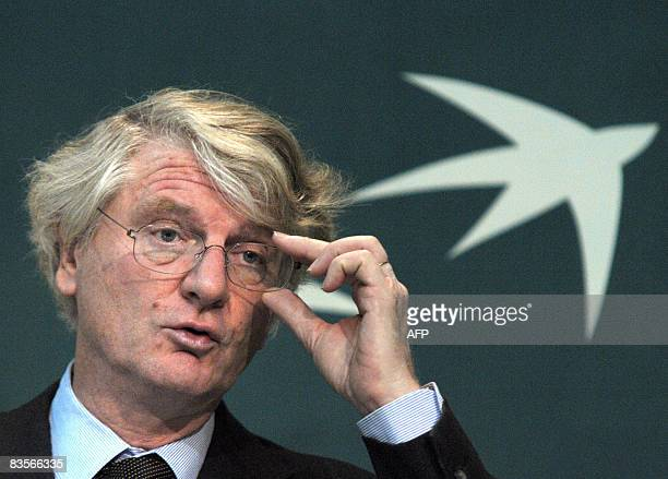 Baudouin Prot CEO of French banking giant BNP Paribas speaks during a press conference on November 5 2008 in Paris to announce the 2008 thirdquarter...