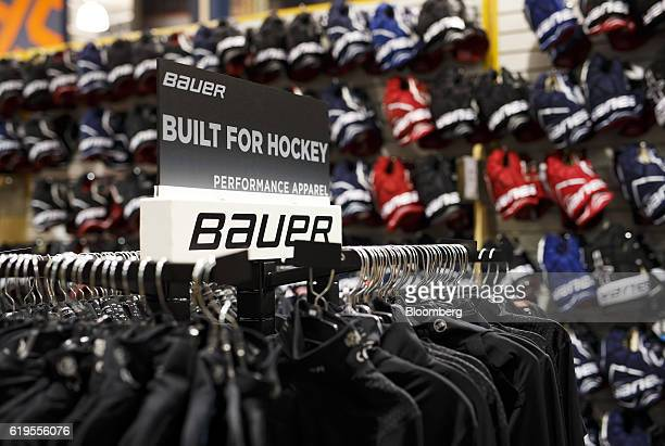 Bauer hockey equipment is displayed for sale at an equipment store in Mississauga Ontario Canada on Monday Oct 31 2016 Performance Sports Group Ltd...