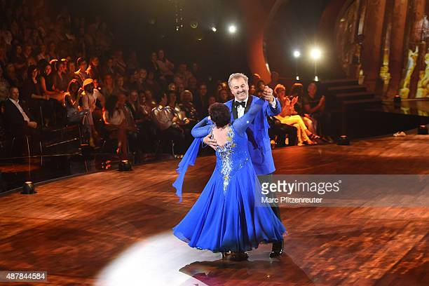 Bauer sucht Frau Star Bruno Rauh and Anja Rauh perform onstage during the first show of the television competition 'Stepping Out' on September 11...