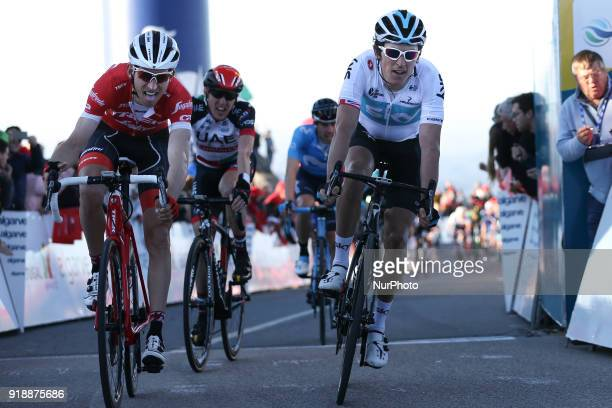 Bauke Mollema of of TrekSegafredo and Geraint Thomas of Team Sky during the 2nd stage of the cycling Tour of Algarve between Sagres and Alto do Foia...