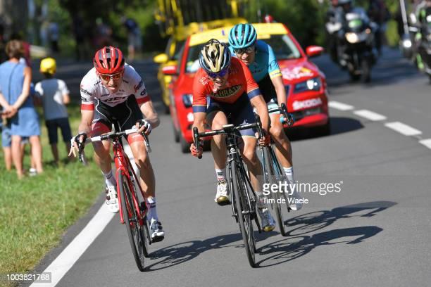Bauke Mollema of The Netherlands and Team Trek Segafredo / Jon Izaguirre Insausti of Spain and Bahrain Merida Pro Team / Magnus Cort Nielsen of...