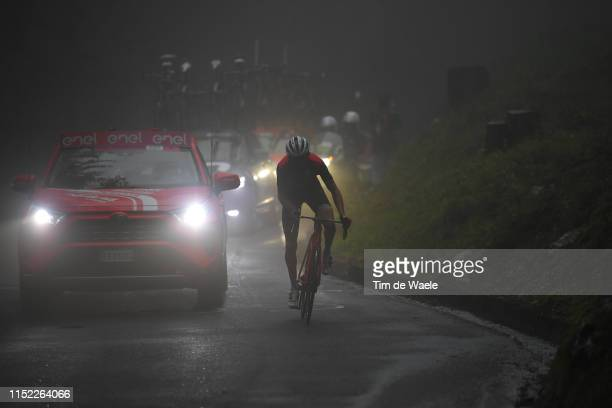 Bauke Mollema of The Netherlands and Team Trek - Segafredo / Passo del Mortirolo / Rain / Fog / during the 102nd Giro d'Italia 2019, Stage 16 a 194km...