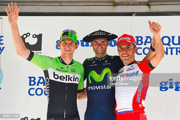 Bauke Mollema of The Netherlands and the Belkin Pro Cycling Team second Alejandro Valverde of Spain and Team Movistar first and Joaquin Rodriguez of...