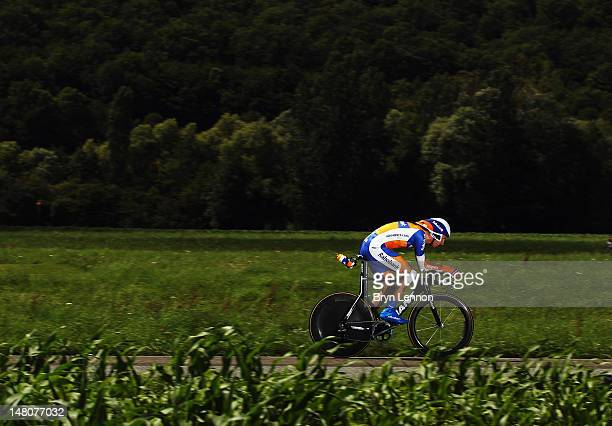 Bauke Mollema of The Netherlands and the Rabobank Cycling Team in action during stage nine of the 2012 Tour de France, a 41.5km individual time...