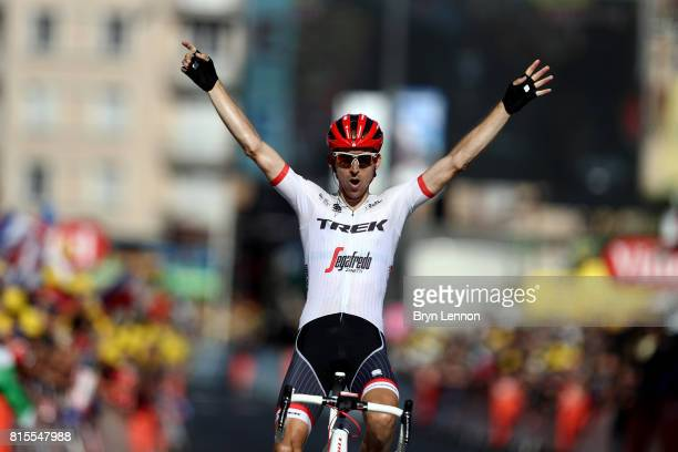 Bauke Mollema of The Netherlands and Trek Segafredo celebrates winning stage fifteen of the 2017 Tour de France a 1895km road stage from...