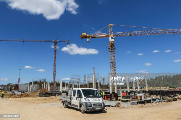 Baukrane cranes at the new building construction site are seen in Gdynia Poland on 20 June 2018 Builders in Poland completed 69 percent more homes in...