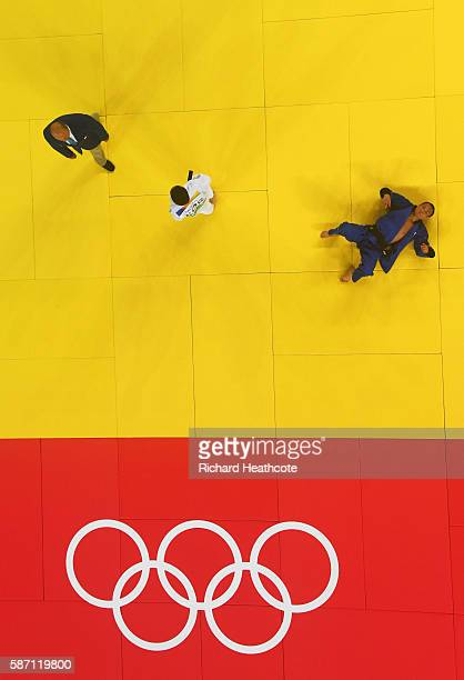 Baul An of Korea and Masashi Ebinuma of Japan compete during the Men's 66kg semi final on Day 2 of the Rio 2016 Olympic Games at Carioca Arena 2 on...
