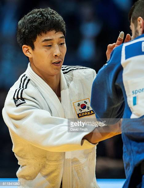 Baul An of South Korea defeated Golan Pollack of Israel by a wazari to win the u66kg final and the gold medal during the 2016 Dusseldorf Judo Grand...