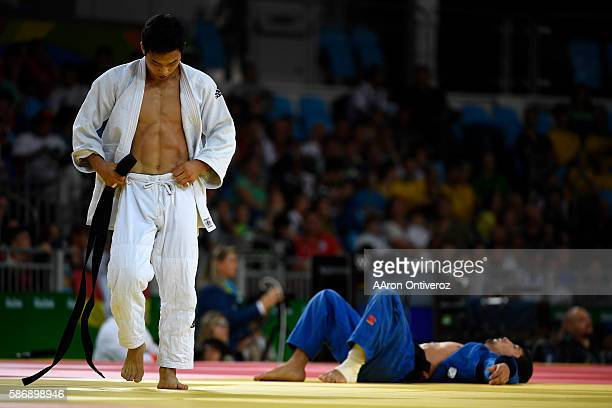 Baul An of South Korea defeats Zhansay Smagulov of Kazakstan during judo action at Rio 2016 on Sunday August 7 2016