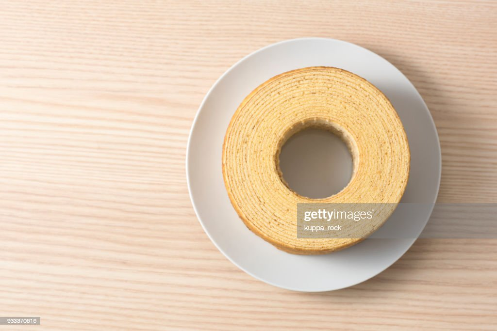 Baumkuchen is traditional baked confectionery for Germany : Stock Photo