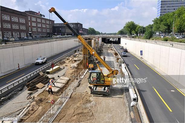 Baustelle auf der A59 durch Duisburg