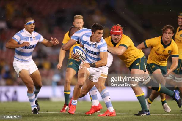Bautista Delguy of Argentina makes a break during the 2020 Tri-Nations match between the Australian Wallabies and the Argentina Pumas at McDonald...
